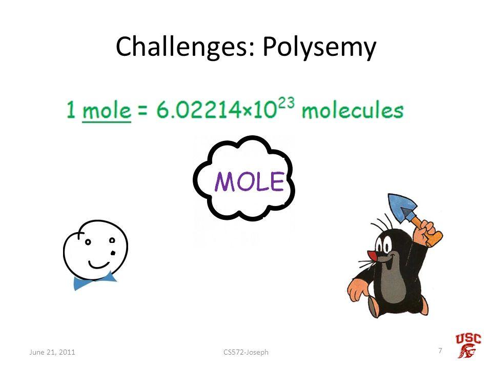 Challenges: Polysemy CS572-Joseph 7 June 21, 2011