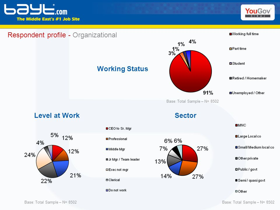Respondent profile - Organizational SectorLevel at Work Working Status Base: Total Sample – N= 8502