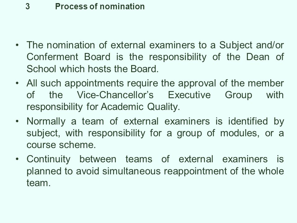 4Induction With the appointment letter issued by the Academic Registrars Department a new external examiner is provided with a copy of the proforma for their annual report and a copy of the Universitys Handbook of Academic Regulations.