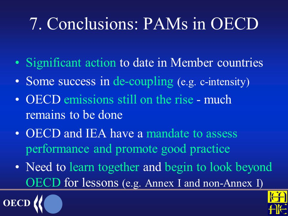 OECD New work on PAMs databases OECD/IEA/EU database on economic instruments (e.g.