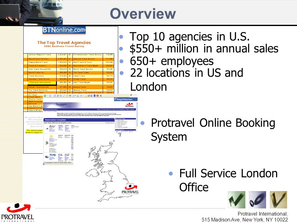 Protravel International, 515 Madison Ave, New York, NY 10022 Overview Top 10 agencies in U.S. Full Service London Office Protravel Online Booking Syst