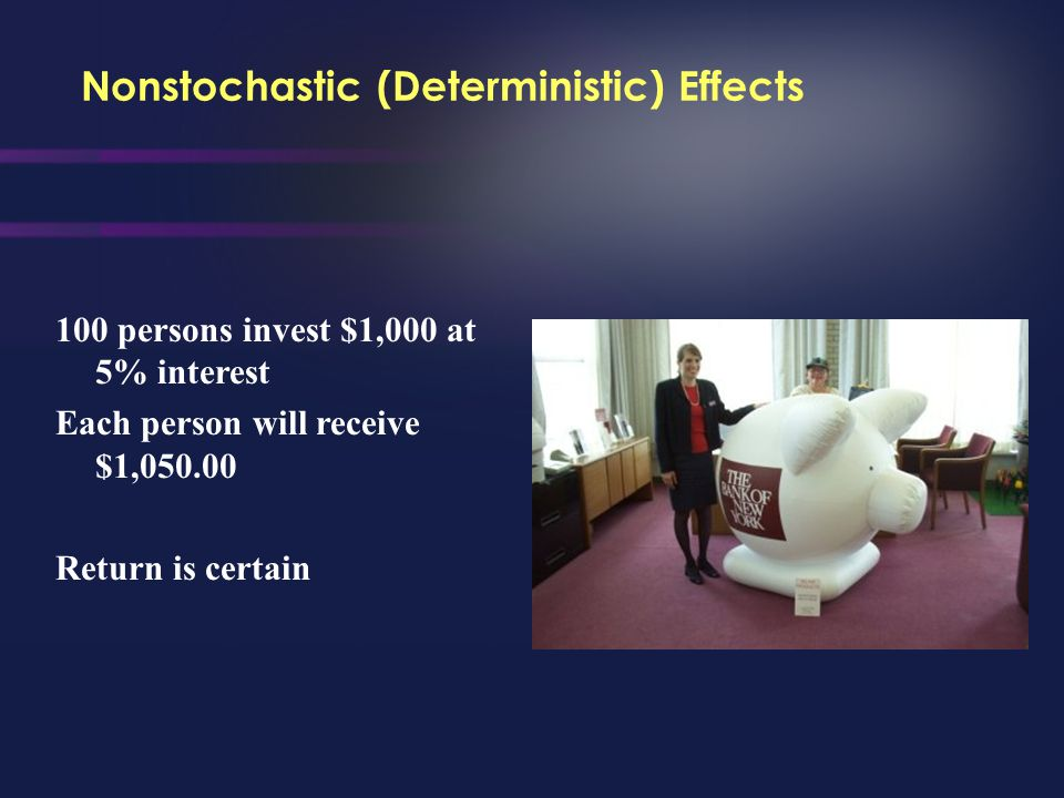 Nonstochastic (Deterministic) Effects Health effects that can be induced upon reaching an apparent threshold, and their severity varies with the radia