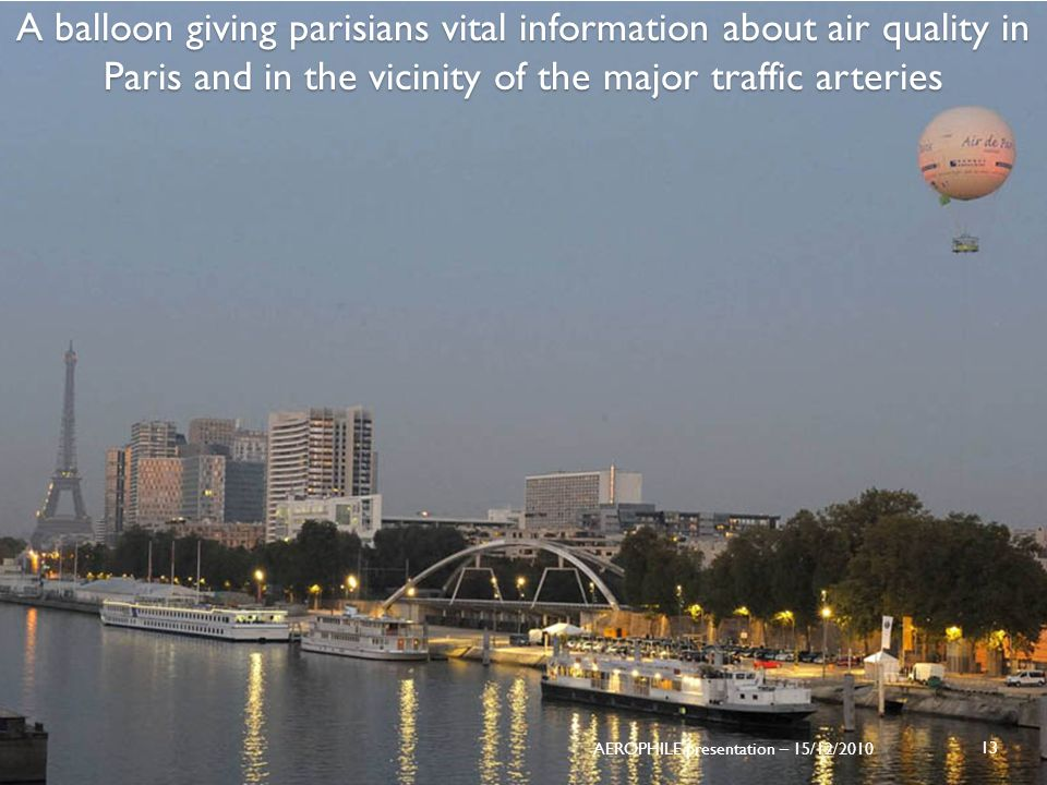 A balloon giving parisians vital information about air quality in Paris and in the vicinity of the major traffic arteries 13 AEROPHILE presentation –