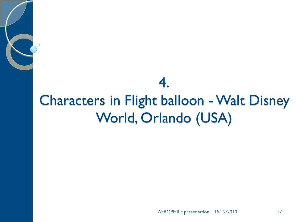 AEROPHILE presentation – 15/12/2010 27 4. Characters in Flight balloon - Walt Disney World, Orlando (USA)
