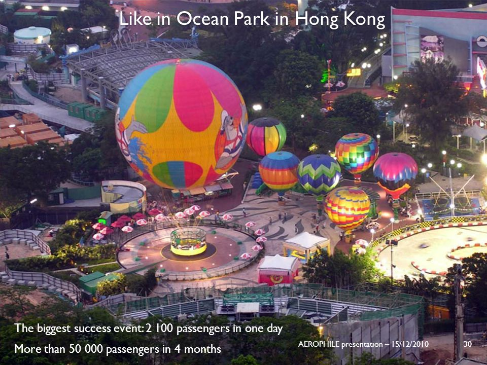 AEROPHILE presentation – 15/12/2010 30 Like in Ocean Park in Hong Kong The biggest success event: 2 100 passengers in one day More than 50 000 passeng