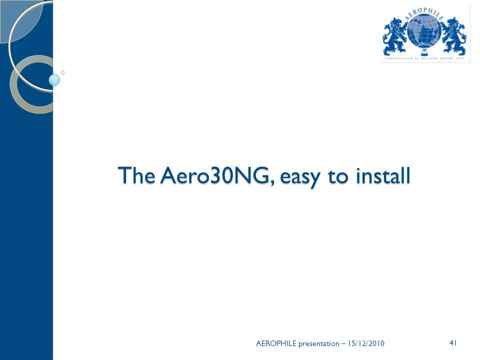 AEROPHILE presentation – 15/12/2010 41 The Aero30NG, easy to install