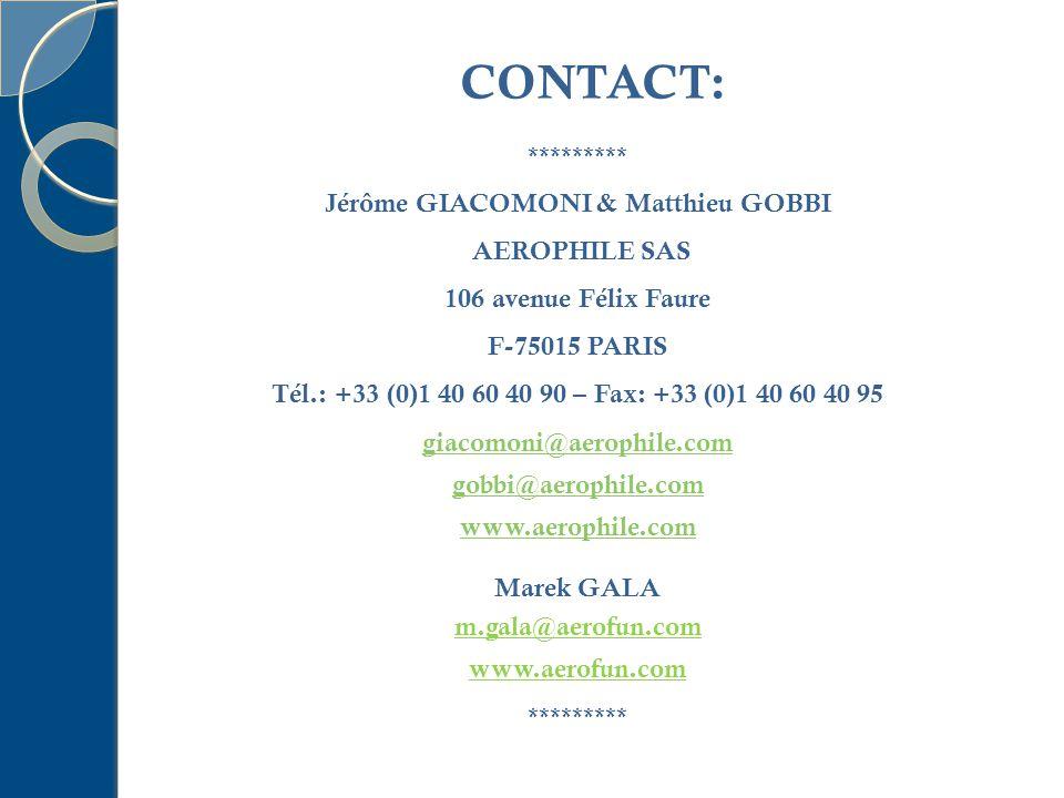 ********* Jérôme GIACOMONI & Matthieu GOBBI AEROPHILE SAS 106 avenue Félix Faure F-75015 PARIS Tél.: +33 (0)1 40 60 40 90 – Fax: +33 (0)1 40 60 40 95