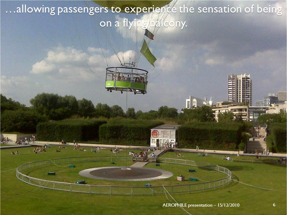 …allowing passengers to experience the sensation of being on a flying balcony. AEROPHILE presentation – 15/12/2010 6