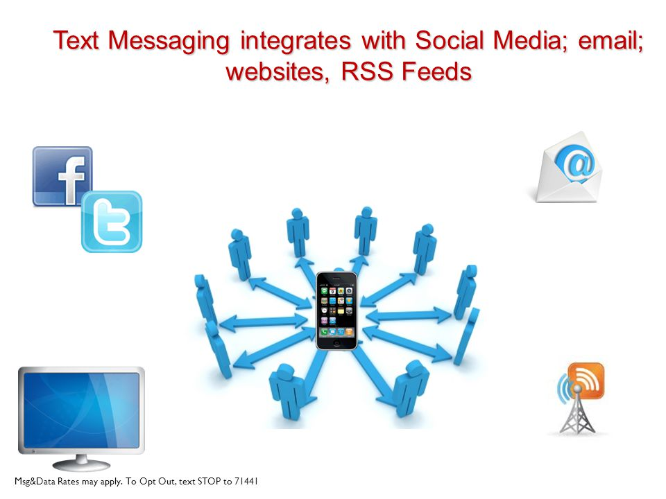 Text Messaging integrates with Social Media;  ; websites, RSS Feeds Msg&Data Rates may apply.