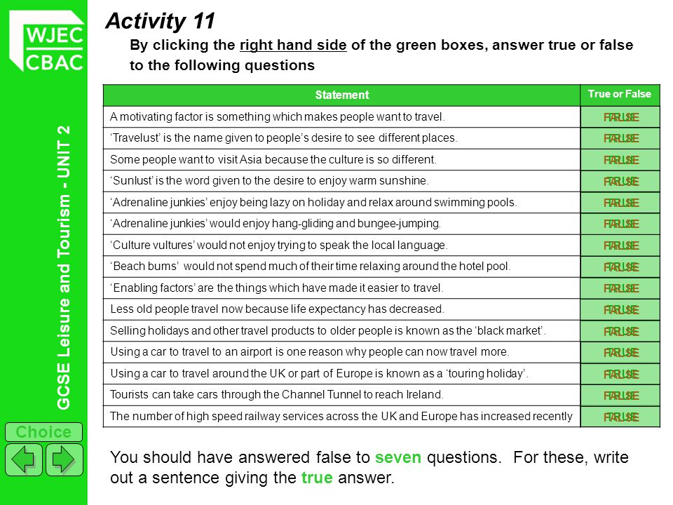GCSE Leisure and Tourism - UNIT 2 Choice Activity 11 By clicking the right hand side of the green boxes, answer true or false to the following questio