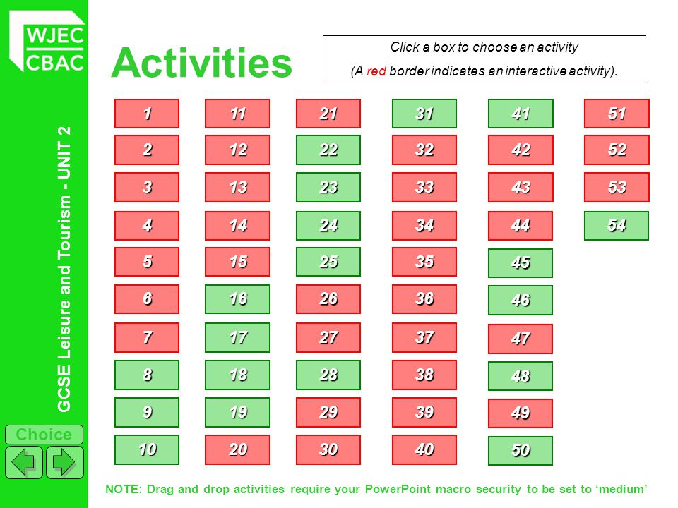 GCSE Leisure and Tourism - UNIT 2 Choice Activities 1111 2222 3333 4444 5555 6666 7777 Click a box to choose an activity (A red border indicates an in