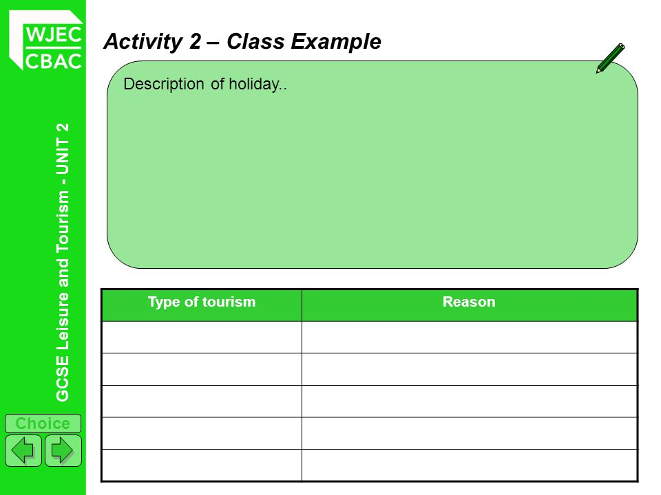GCSE Leisure and Tourism - UNIT 2 Choice Activity 2 – Class Example Description of holiday.. Type of tourismReason
