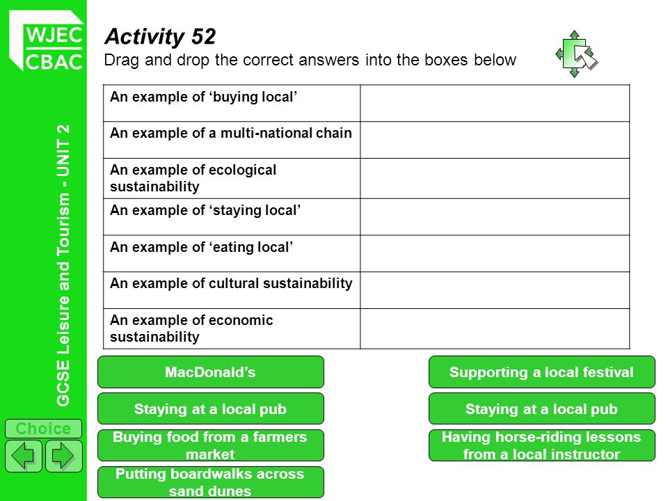 GCSE Leisure and Tourism - UNIT 2 Choice Activity 52 Drag and drop the correct answers into the boxes below An example of buying local An example of a