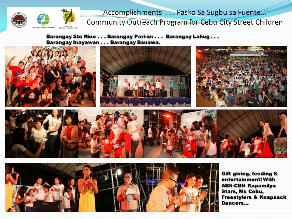 Accomplishments... Pasko Sa Sugbu sa Fuente… Community Outreach Program for Cebu City Street Children