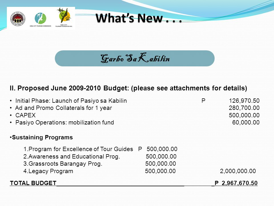Garbo Sa Kabilin II. Proposed June 2009-2010 Budget: (please see attachments for details) Initial Phase: Launch of Pasiyo sa KabilinP126,970.50 Ad and