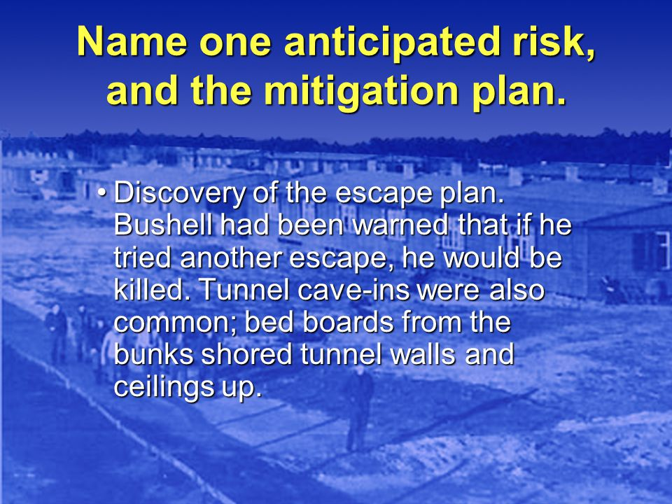 Name one anticipated risk, and the mitigation plan.