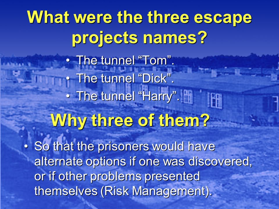 What were the three escape projects names.The tunnel Tom.The tunnel Tom.