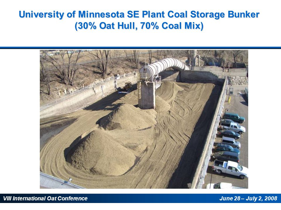VIII International Oat ConferenceJune 28 – July 2, 2008 University of Minnesota SE Plant Coal Storage Bunker (30% Oat Hull, 70% Coal Mix)