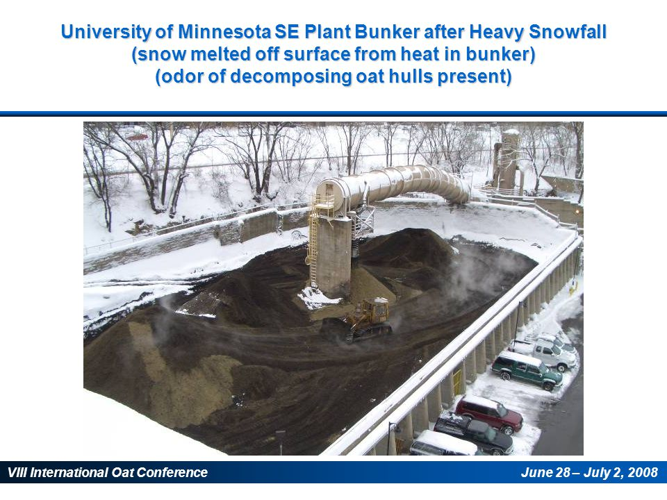 VIII International Oat ConferenceJune 28 – July 2, 2008 University of Minnesota SE Plant Bunker after Heavy Snowfall (snow melted off surface from heat in bunker) (odor of decomposing oat hulls present)
