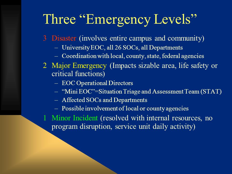 Three Emergency Levels 3Disaster (involves entire campus and community) –University EOC, all 26 SOCs, all Departments –Coordination with local, county, state, federal agencies 2Major Emergency (Impacts sizable area, life safety or critical functions) –EOC Operational Directors –Mini EOC=Situation Triage and Assessment Team (STAT) –Affected SOCs and Departments –Possible involvement of local or county agencies 1Minor Incident (resolved with internal resources, no program disruption, service unit daily activity)