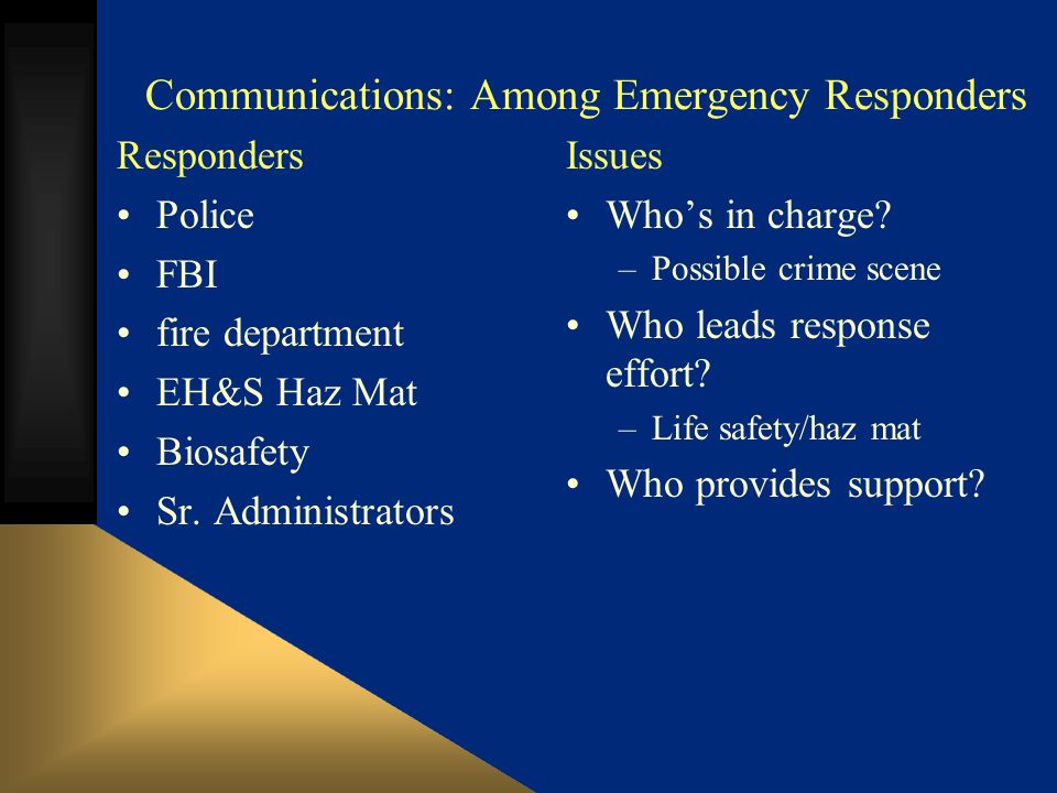 Communications: Among Emergency Responders Responders Police FBI fire department EH&S Haz Mat Biosafety Sr.