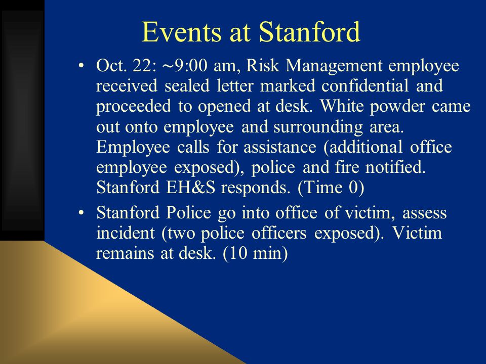 Events at Stanford Oct.
