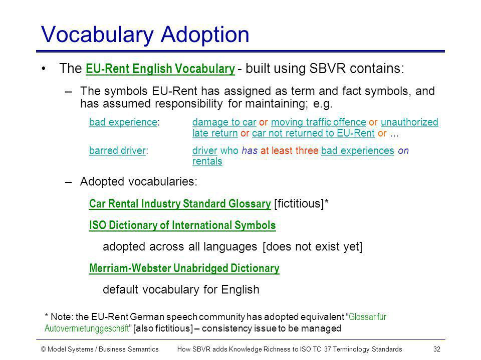 © Model Systems / Business SemanticsHow SBVR adds Knowledge Richness to ISO TC 37 Terminology Standards32 Vocabulary Adoption The EU-Rent English Vocabulary - built using SBVR contains: –The symbols EU-Rent has assigned as term and fact symbols, and has assumed responsibility for maintaining; e.g.