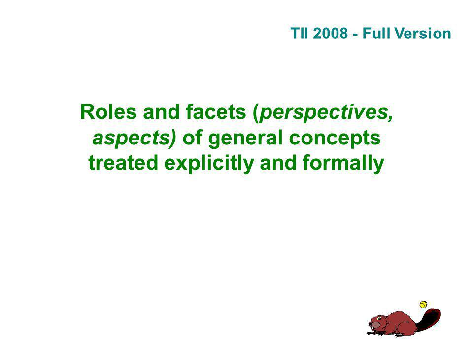 TII 2008 - Full Version Roles and facets (perspectives, aspects) of general concepts treated explicitly and formally