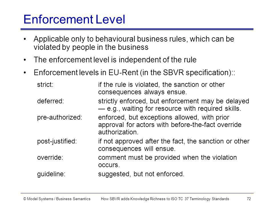 © Model Systems / Business SemanticsHow SBVR adds Knowledge Richness to ISO TC 37 Terminology Standards72 Enforcement Level Applicable only to behavioural business rules, which can be violated by people in the business The enforcement level is independent of the rule Enforcement levels in EU-Rent (in the SBVR specification):: strict: if the rule is violated, the sanction or other consequences always ensue.