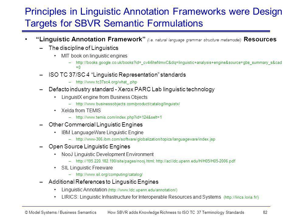© Model Systems / Business SemanticsHow SBVR adds Knowledge Richness to ISO TC 37 Terminology Standards82 Principles in Linguistic Annotation Frameworks were Design Targets for SBVR Semantic Formulations Linguistic Annotation Framework (i.e.