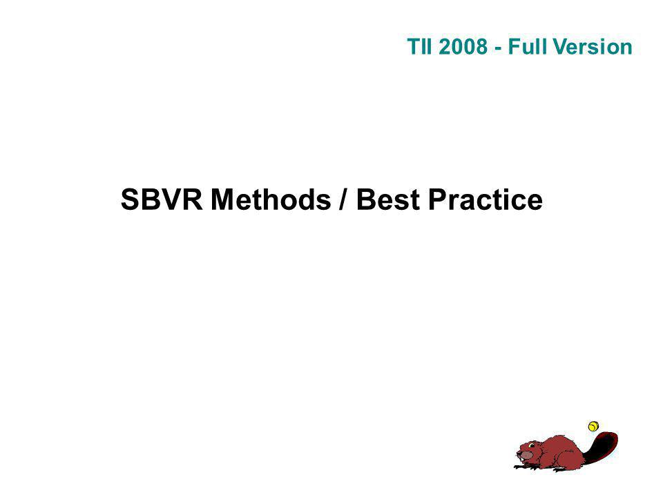 TII 2008 - Full Version SBVR Methods / Best Practice