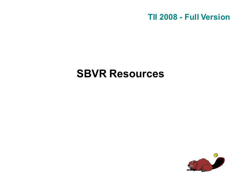 TII 2008 - Full Version SBVR Resources