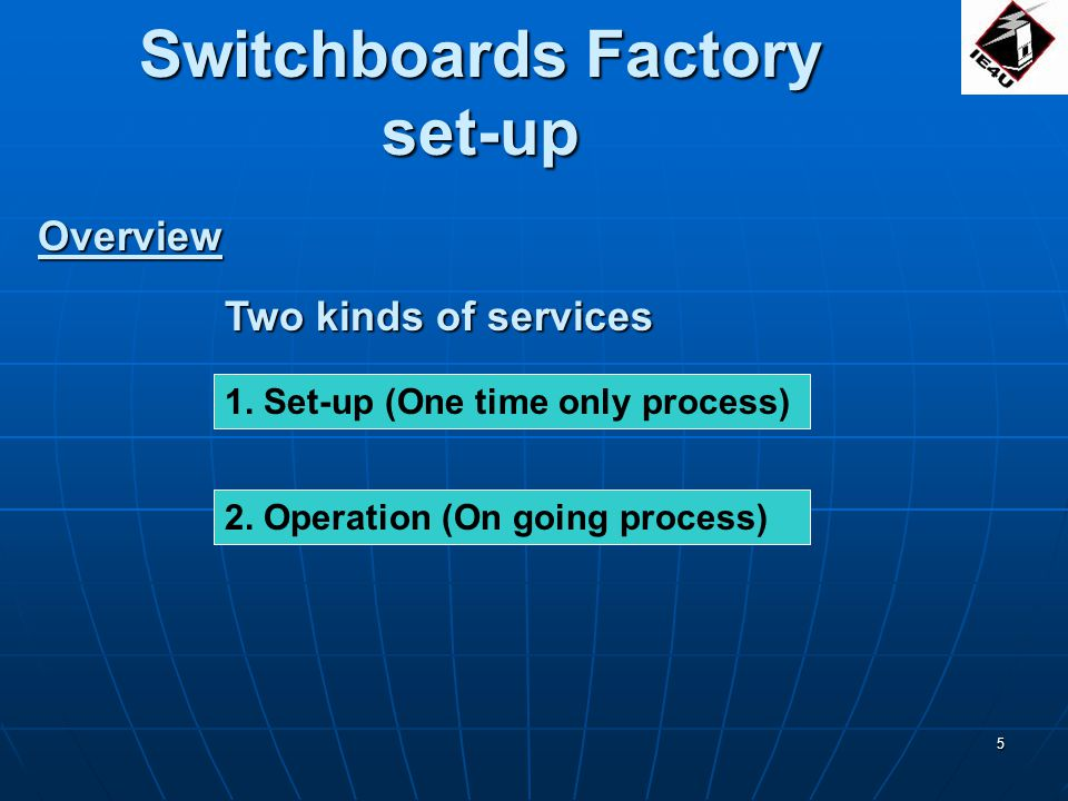 26 THE ONE-STOP SERVICE AND PRODUCT PROVIDER FOR SWITCHBOARD FACTORY SET-UP AND OPERATION THE ONE-STOP SERVICE AND PRODUCT PROVIDER FOR SWITCHBOARD FACTORY SET-UP AND OPERATION UNIQUE OFFERINGS THAT WILL GIVE YOU AN EDGE OVER YOUR COMPETITORS UNIQUE OFFERINGS THAT WILL GIVE YOU AN EDGE OVER YOUR COMPETITORS YOUR RELIABLE PARTNER IN YOUR COMPANYS EXPONENTIAL GROWTH YOUR RELIABLE PARTNER IN YOUR COMPANYS EXPONENTIAL GROWTH INDUSTRIALELECTRICS4U