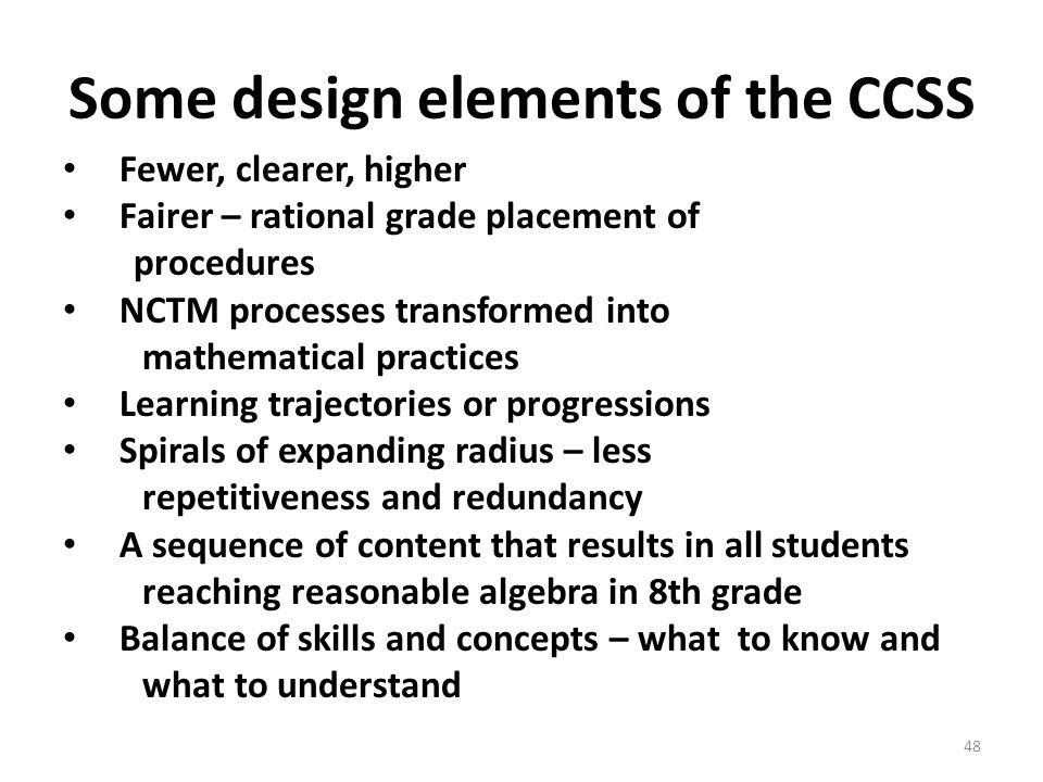 Some design elements of the CCSS Fewer, clearer, higher Fairer – rational grade placement of procedures NCTM processes transformed into mathematical p