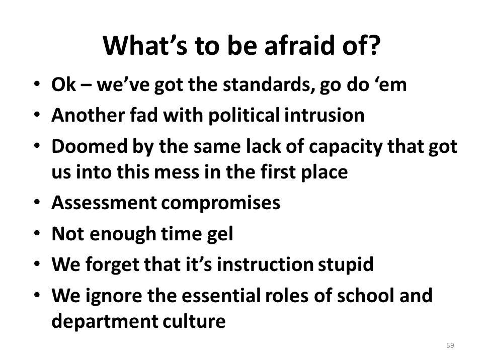 Whats to be afraid of? Ok – weve got the standards, go do em Another fad with political intrusion Doomed by the same lack of capacity that got us into