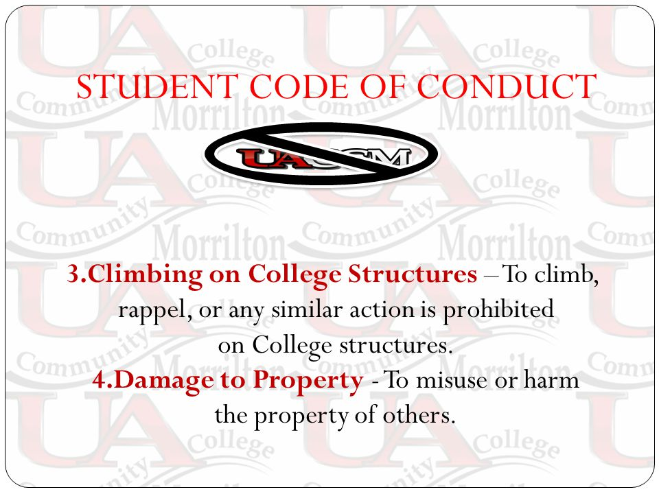 STUDENT CODE OF CONDUCT 3.Climbing on College Structures – To climb, rappel, or any similar action is prohibited on College structures.