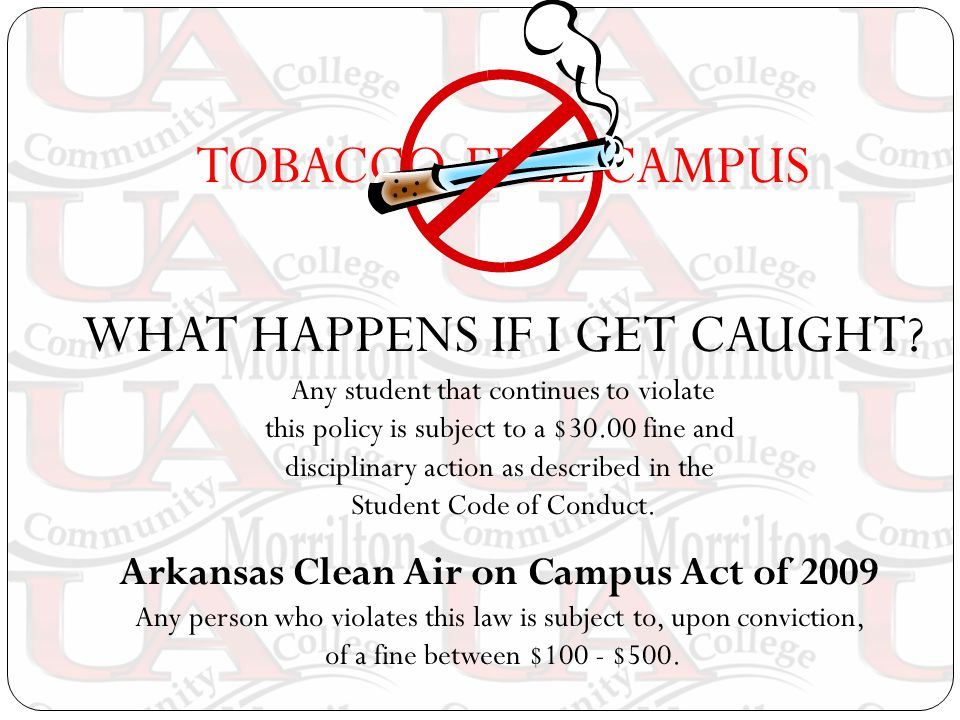 TOBACCO-FREE CAMPUS WHAT HAPPENS IF I GET CAUGHT.