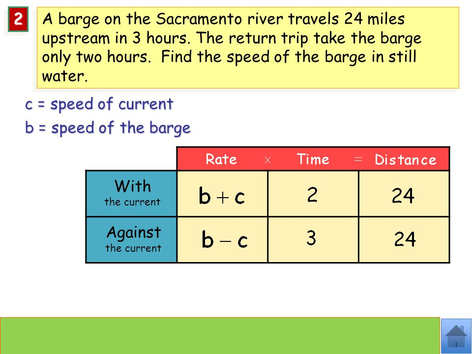 With the current c = speed of current 22 b = speed of the barge A barge on the Sacramento river travels 24 miles upstream in 3 hours.