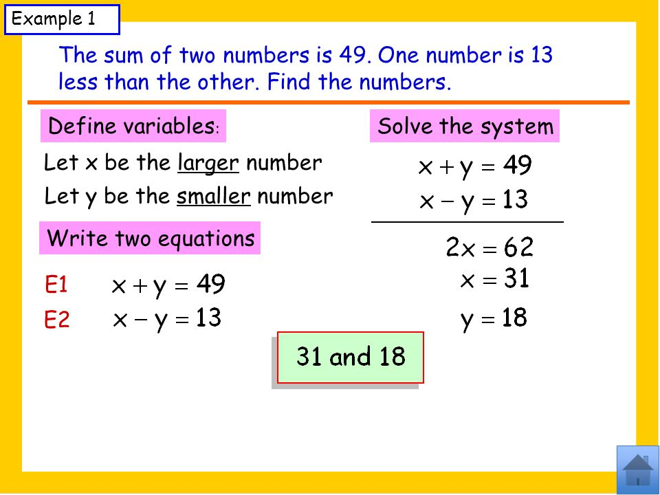 Example 1 The sum of two numbers is 49.One number is 13 less than the other.