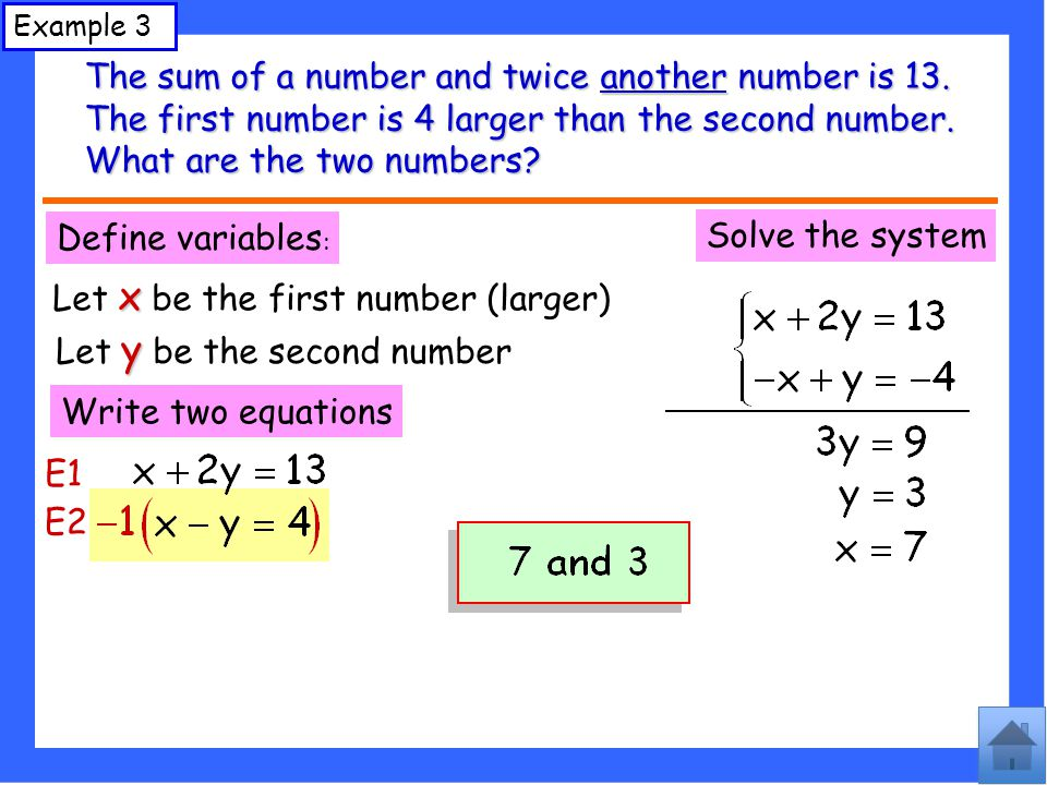 The sum of a number and twice another number is 13.