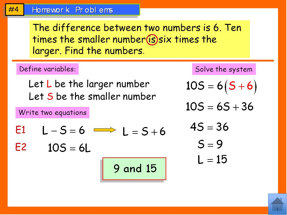 #4 The difference between two numbers is 6.Ten times the smaller number is six times the larger.