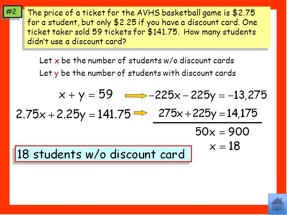 The price of a ticket for the AVHS basketball game is $2.75 for a student, but only $2.25 if you have a discount card.
