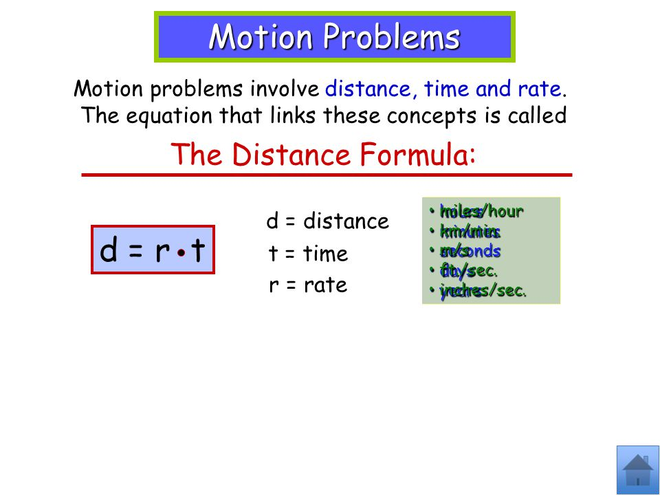 Motion Problems Motion problems involve distance, time and rate.