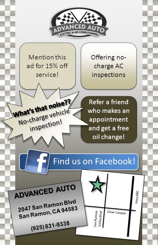 Find us on Facebook! Mention this ad for 15% off service! Offering no- charge AC inspections Refer a friend who makes an appointment and get a free oi