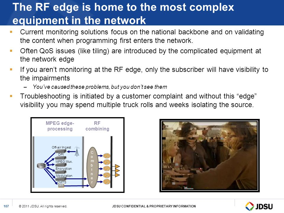 © 2011 JDSU. All rights reserved.JDSU CONFIDENTIAL & PROPRIETARY INFORMATION107 The RF edge is home to the most complex equipment in the network Curre