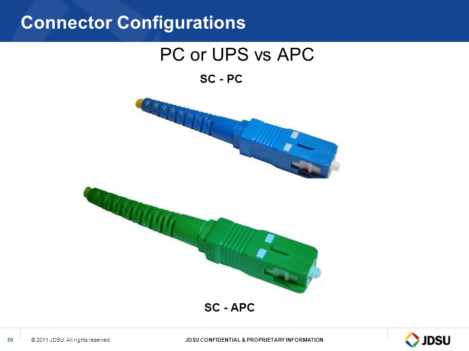 © 2011 JDSU. All rights reserved.JDSU CONFIDENTIAL & PROPRIETARY INFORMATION50 Connector Configurations PC or UPS vs APC SC - PC SC - APC
