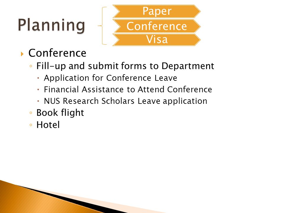 Conference Fill-up and submit forms to Department Application for Conference Leave Financial Assistance to Attend Conference NUS Research Scholars Leave application Book flight Hotel Paper Conference Visa