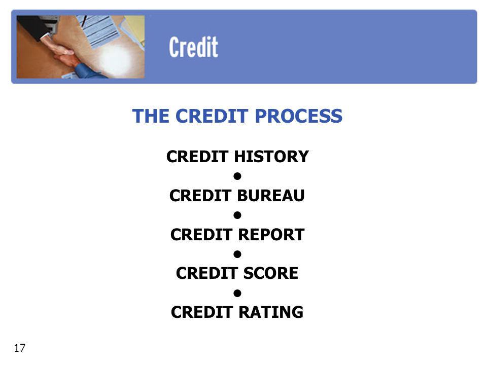 THE CREDIT PROCESS CREDIT HISTORY CREDIT BUREAU CREDIT REPORT CREDIT SCORE CREDIT RATING 17
