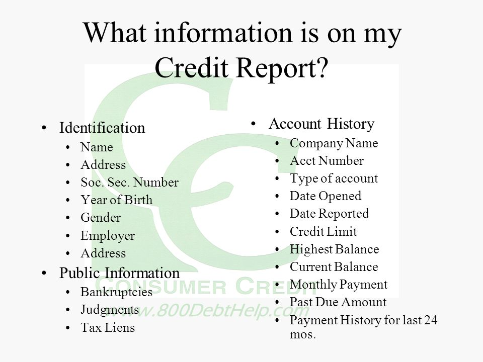 www.800DebtHelp.com What information is on my Credit Report? Identification Name Address Soc. Sec. Number Year of Birth Gender Employer Address Public