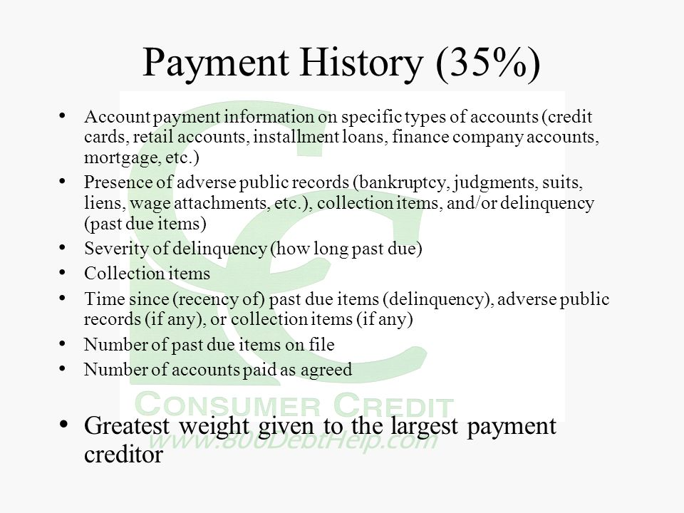 www.800DebtHelp.com Payment History (35%) Account payment information on specific types of accounts (credit cards, retail accounts, installment loans,